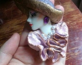 Vintage Porcelain Hand Painted Brooch