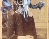 victorian art print by kitty valentine - ram girl with basket