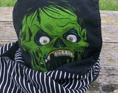 Upcycled ZOMBIE shirt Fleece Hooded Scarf Scoodie OOAK Ready to Ship