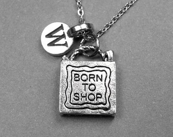 Shopping Bag Born to Shop Charm Necklace silver pewter, initial necklace, initial hand stamped, personalized, monogram