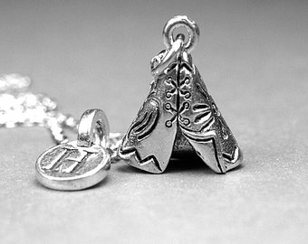 Teepee Necklace, Tepee necklace, Tipi Necklace, Tent charm, Personalized jewelry, initial necklace, antiqued, silver plated pewter, monogram