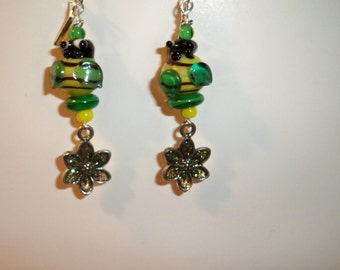 Bee & Flower Earrings with Yellow and Green Lampwork Glass Bees and Sparkly Green Flower Dangle