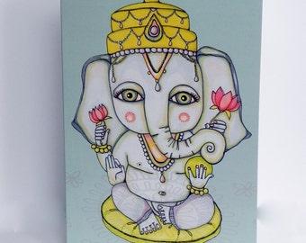 Whimsical Ganesha Set of TWO Greeting Card Blank Inside