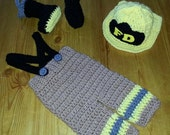 Crocheted Firefighter Outfit for Newborns-24 Months Girl or Boy  Boots, Pants, Hat