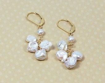 Keshi Pearl Earrings, Leverbacks, Beach Wedding Jewelry, Beach Bridesmaid Gifts, White Keishi Pearl Earrings