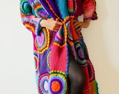 Extra Long Plus Size Cardigan Sweater with Crochet Circles - MADE TO ORDER