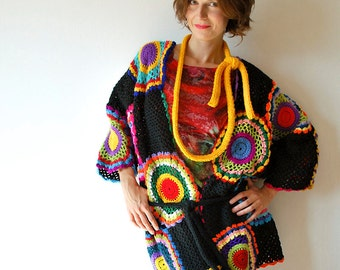 Plus Size Clothing, Multicolor Crocheted Cardigan - MADE TO ORDER
