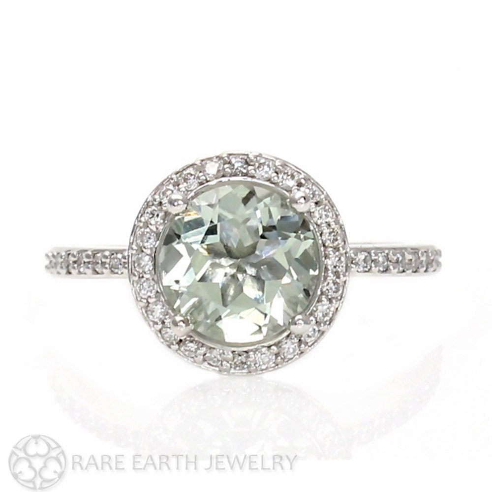 Green Amethyst Ring Diamond Halo Unique Engagement by RareEarth