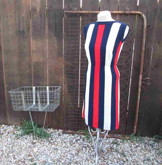 Knitting Vertical Stripes Different Colors : Vintage stripe dress s knit red white blue vertical