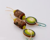 Woodland earrings - lime green, brown, green lampwork with wood - Frogger