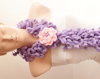 Mulberry Scarf - Pompop Scarf- Cocoon Scarf with lovely crochet flower brooch