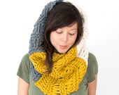 Mega Chunky Trio Knit Cowl in Cream, Mustard and Grey