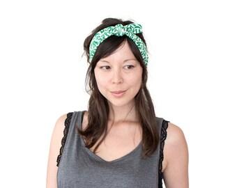 Tie Up Headscarf // Hair Wrap // Knotted Headband // Fabric Headband // Emerald Retro Print