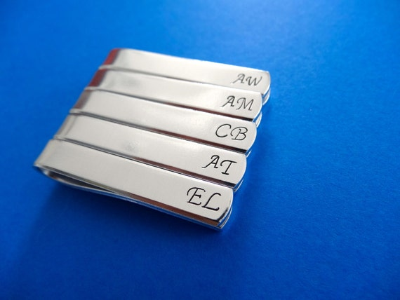 Set of 5 Custom Tie Bars - Initials - Personalized hand stamped Tie clips - Groomsman Gift