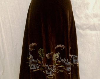 SALE Was 35.00 Vintage 1970's Velvet Skirt with Hand Painted Elephants SZ SM