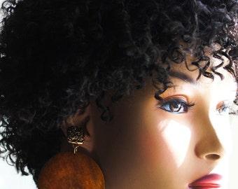 Wood Earrings, Wood Post Earrings, Statement Earrings, Big Wood Earrings, Chocolate Brown, For Her, Mocha Chocolate Brown Wood Post Earrings