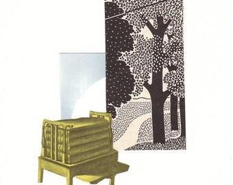 Original cut paper collage - Yellow Press - Original Art - One of a kind art - home decor - 2d art - wall art - spring art