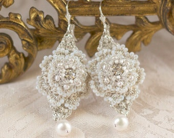 "Pearl Bridal Drop Earrings / Delicate Ivory Silk & Silver Crochet Lace / Vintage Crystals / Wedding Jewelry ""Celestina"""