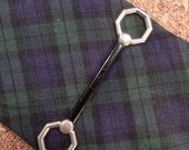 Bridle Bit Tie clip, Silver toned with black