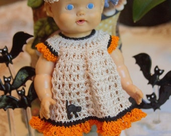 Crochet outfit for 8 or 9 inch Sun Rubber Baby Doll Eyelet Dress Set Natural Black Orange Cat