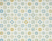 1940s Vintage Wallpaper by the Yard - Blue Green and Yellow Geometric
