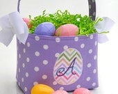 Personalized Easter Basket egg Applique lavendar polka dot