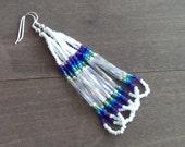 Native American beaded earrings - white and purple beadwork earrings - seed beaded earrings