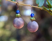 Green Turquoise, Earrings, Lapis, Rustic, Southwest