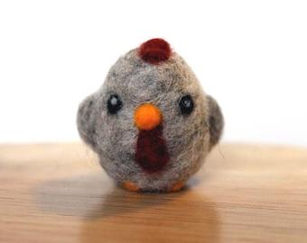 Needle Felted Gray Chicken Hen - Bird Figurine - Made to Order - Felt Chicken - Felt Cute Hen - Felted Farm Animals - Felted Chickens