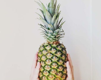 pineapple photograph . minimalist art . white green . kitchen decor . food photography . modern . fruit . organic . cottage chic . summer