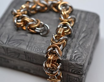 Men's 14 gauge chunky byzantine chainmaille stainless steel & brass bracelet