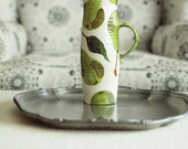 Tall Pitcher - Green Pear Pattern on White - Vibrant Pottery for Beverage Serving Happy Home Decor Hostess Friend Mothers Day Gift