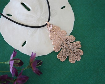 Oak Leaf Rose Gold, Real Leaf, Lacey Oak, Oak Leaf, Pink Gold, RG6