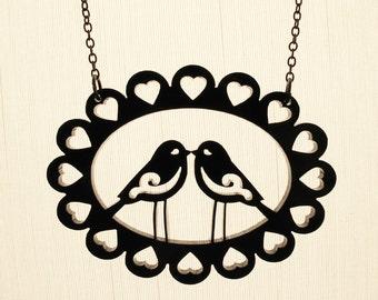 Love Birds Necklace - Laser Cut Acrylic (C.A.B. Fayre Original Design)