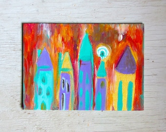 Sunny Town acrylic painting on canvas panel