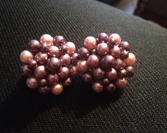 Pair of Vintage Purple Beaded Clip On Earrings