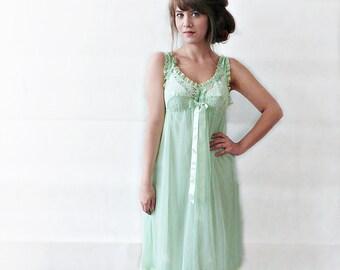 VINTAGE SLIP DRESS, pale mint green, sexy slip dress, lace dress, night dress, sheer slip dress, lingerie
