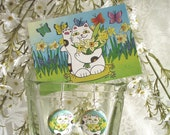 Daffodil Neko Calico Cat with Butterflies Earrings and Accompanying ACEO Print