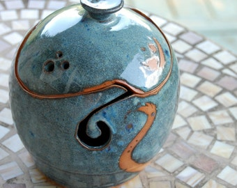 Lidded Yarn Bowl or Jar in Slate Blue - Made to Order