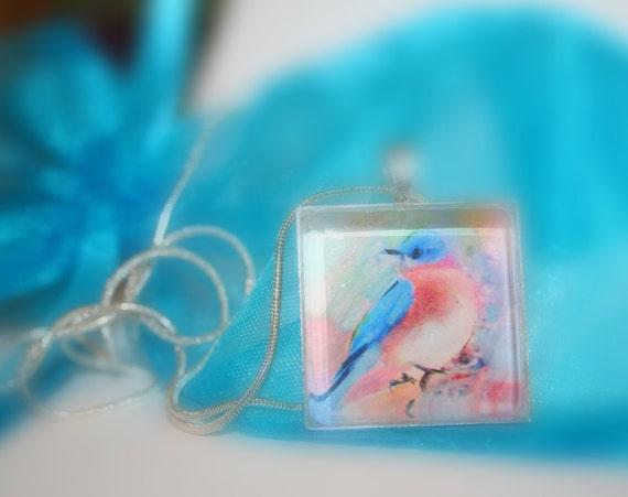 Gift under 20, Little blue, Bluebird, glass photo pendant necklace, gift, bird necklace, nature pendant, teal, blue