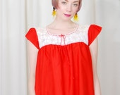 vintage 1960s / red lace  / over size / crochet / cotton blouse / size S-M / baby doll / hippie / boho