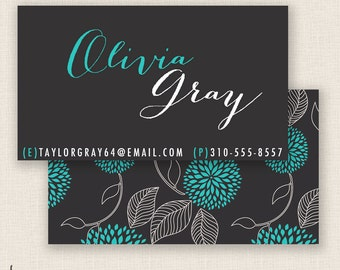 TURQUOISE & FLORAL  - Double Sided - DIY Printable - Business Card Template