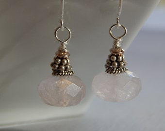 Faceted Rose Quartz Rondels. Sterling Silver Beads. Ear wires.