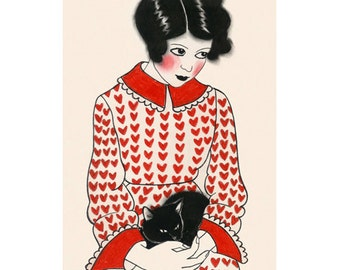 "Fashion illustration art print  -  4 for 3 SALE - Betty and her black kitten 8.3"" X 11.8"" print"