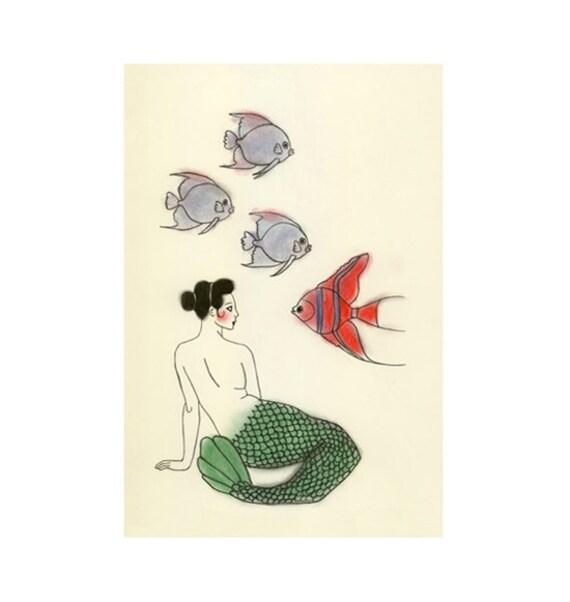 Mermaid Wall Art Print -  Community Meet-up - 4 X 6 Print - 4 for 3 SALE