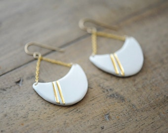 22k Gold Striped Half-Wave - Nautical, minimalist jewelry, 14k gold filled