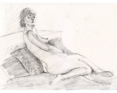 Original Drawing Nude  Female Graphite Figure Sketch - Woman Reclining Among Pillows
