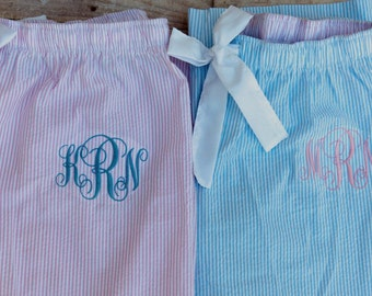 Monogrammed  Pajama Pants Seersucker Personalized Preppy Blue Pink PJ