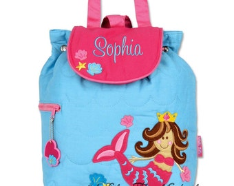 Girls Backpack Personalized Mermaid Stephen Joseph Quilted Preschool Toddler
