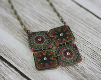 Pavlovsky Mosaic Necklace - Russin Print - Russin Necklace - Russian Pendant - Russian - Pavlovsky - Mosaic Necklace - Printed Plastic